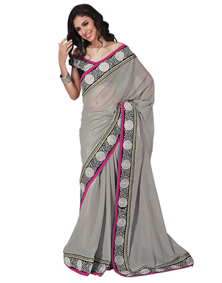 Dealtz Fashion Grey Georgette  Saree