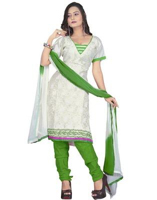 White Colored Chanderi Silk Embroidered Unstitched Salwar Kameez