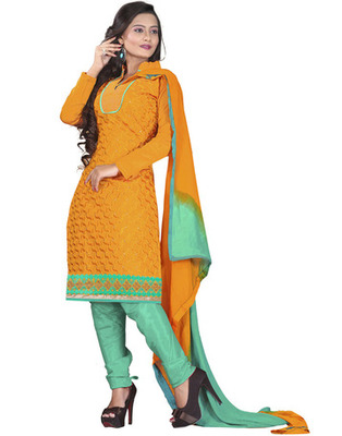 Orange Colored Chanderi Silk Embroidered Unstitched Salwar Kameez