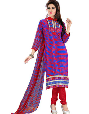Blue & Pink Colored Crepe Jacquard Embroidered Unstitched Salwar Kameez