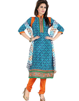 Blue Colored Crepe Jacquard Embroidered Unstitched Salwar Kameez