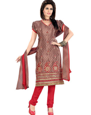 Light Brown Colored Crepe Jacquard Embroidered Unstitched Salwar Kameez