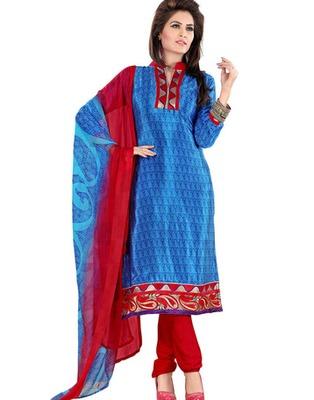Blue Colored Crepe Jacquard Embroidered Unstitched Salwar Kameez