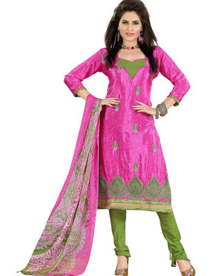 Pink Colored Crepe Jacquard Embroidered Unstitched Salwar Kameez