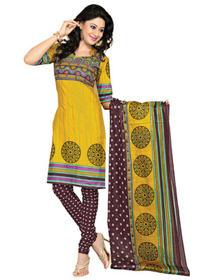 Coffee  Colored Cotton Printed Un-Stitched Salwar Kameez