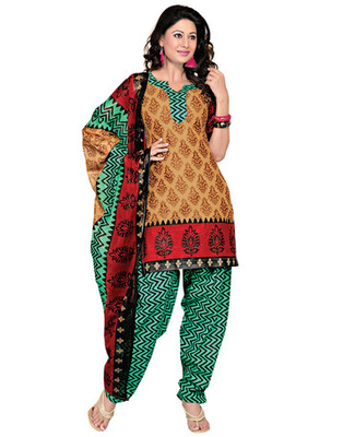 Turquoise Colored Cotton Printed Un-Stitched Salwar Kameez