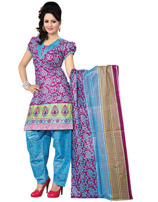 Sky Blue Colored Cotton Printed Un-Stitched Salwar Kameez