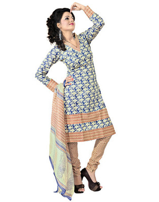 Cream  Colored Cotton Printed Un-Stitched Salwar Kameez