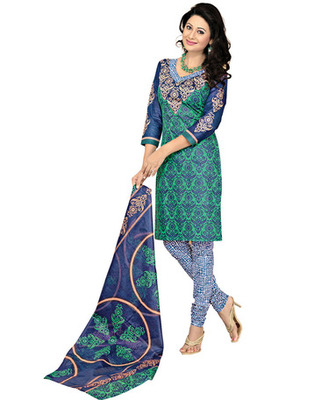 Blue Colored Cotton Printed Un-Stitched Salwar Kameez
