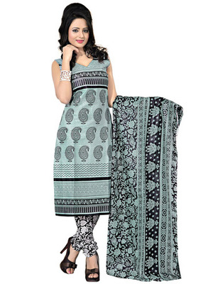 Black  Colored Cotton Printed Un-Stitched Salwar Kameez