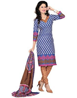 Brown  Colored Cotton Printed Un-Stitched Salwar Kameez