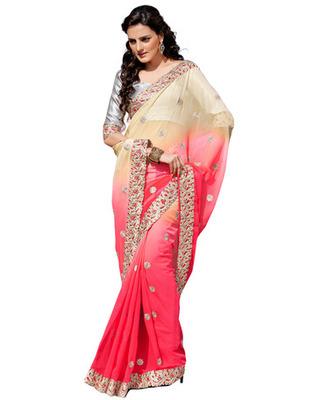 Beige Colored Chiffon Embroidered Saree