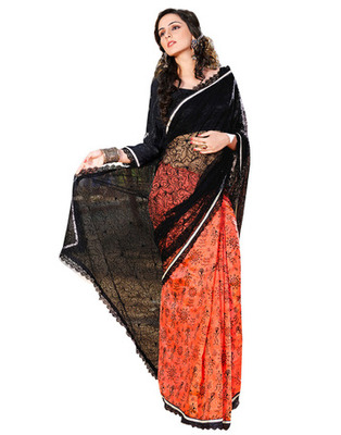 Black  Colored Net Embroidered Saree