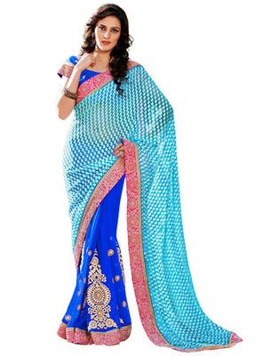 Sky Blue  Colored Brasso Embroidered Saree