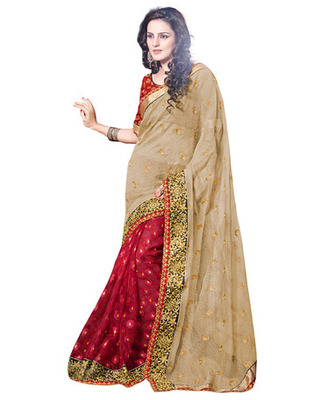 Beige Colored Super Net Embroidered Saree