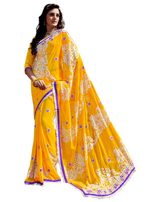 Yellow Colored Chiffon Embroidered Saree