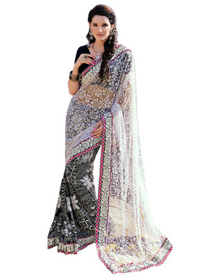 White  Colored Net Embroidered Saree