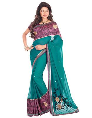 Blue Colored Chiffon  Embroidered Saree