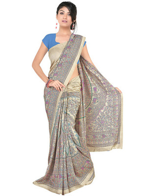 Beige Colored Pashmina Silk Printed Saree