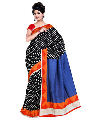 Black Colored Raw Silk Printed Saree