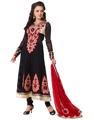 Black Colored Georgette Embroidered Salwar Kameez