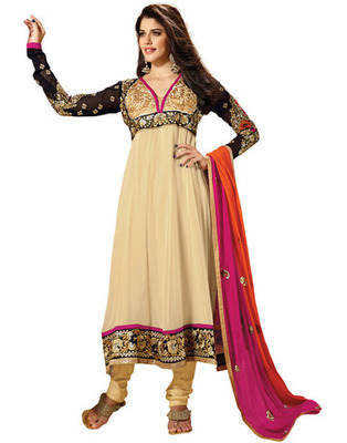 Cream  Colored Faux Georgette Embroidered Salwar Kameez