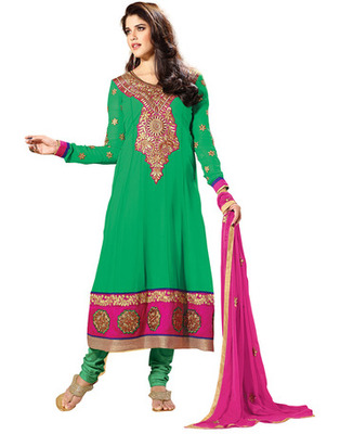 Green Colored Faux Georgette Embroidered Salwar Kameez