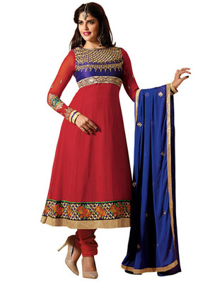Red Colored Faux Georgette Embroidered Salwar Kameez