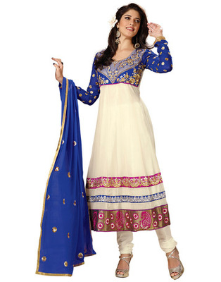 White Colored Faux Georgette Embroidered Salwar Kameez