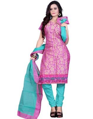 Pink Colored Banarasi Silk Printed Salwar Kameez