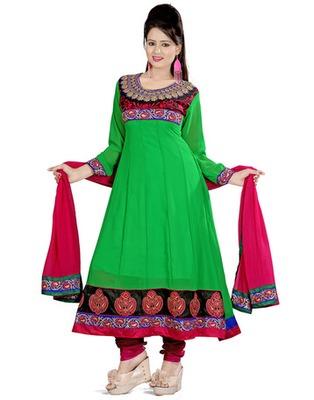 Green Colored Georgette Embroidered Salwar Kameez