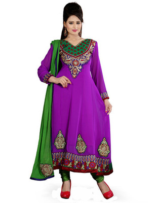 Magenta  Colored Georgette Embroidered Salwar Kameez