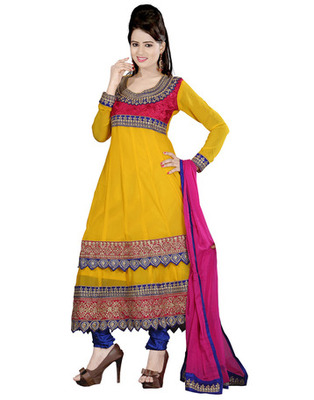 Yellow Colored Pure Georgette Embroidered Salwar Kameez