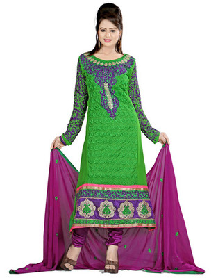 Green Colored Pure Georgette Embroidered Salwar Kameez