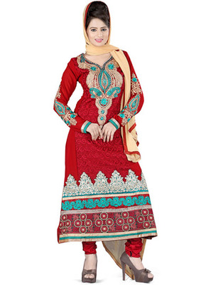 Maroon Colored Pure Georgette Embroidered Salwar Kameez