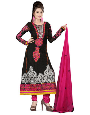 Black Colored Pure Georgette Embroidered Salwar Kameez