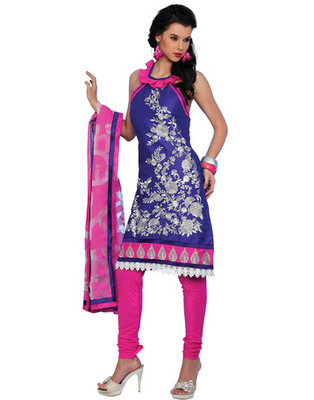 Blue Colored Cotton Embroidered Salwar Kameez