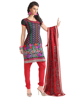 Black Colored Chanderi Silk Embroidered Salwar Kameez