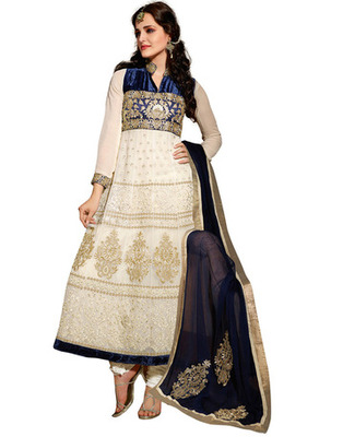White Colored Supernet Embroidered Salwar Kameez