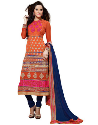 Orange Colored Viscose Embroidered Salwar Kameez