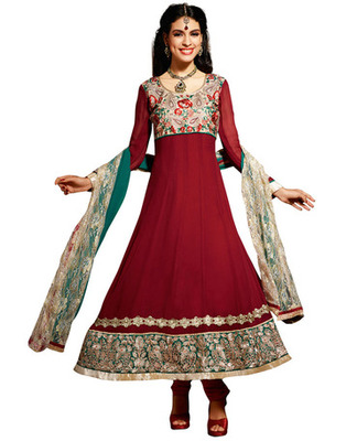 Maroon Colored Viscose Embroidered Salwar Kameez