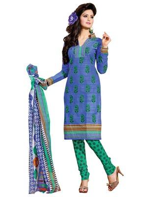 Blue & Sea Green Colored Cotton Unstitched Salwar Kameez