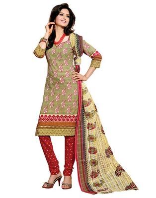 Light Green & Maroon Colored Cotton Unstitched Salwar Kameez