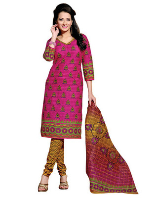 Pink & Yellow Colored Cotton Unstitched Salwar Kameez