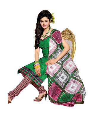 Green & Light Pink Colored Cotton Unstitched Salwar Kameez