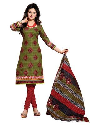 Green & Red Colored Cotton Unstitched Salwar Kameez