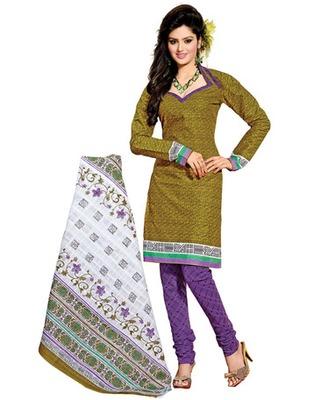 Olive Green & Lavender Colored Cotton Unstitched Salwar Kameez