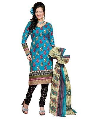 Sky Blue & Black Colored Cotton Unstitched Salwar Kameez