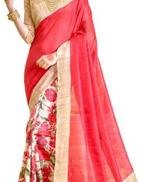 Buy Red printed Bhagalpuri Silk saree With Blouse party-wear-saree online