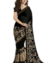 Buy Black printed georgette saree With Blouse party-wear-saree online
